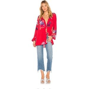 Free People Meadow Lark Floral Button Down Blouse
